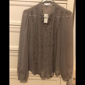 Ann Taylor Loft sheer gray blouse